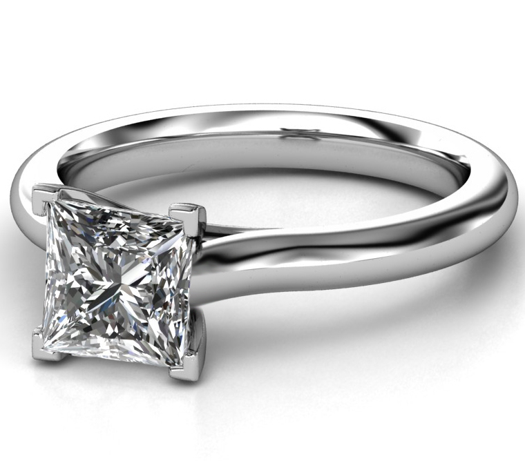Princess Diamond Solitaire Trellis Engagement Ring in 14K White Gold