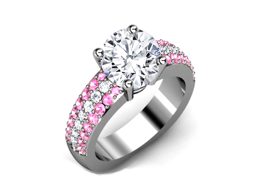 Trio Pave Pink Shire Diamonds Engagement Ring In 14k White Gold