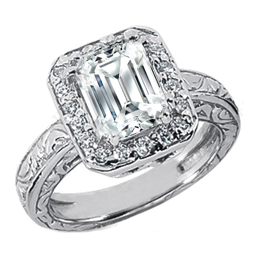 Emerald Cut Diamond Halo Engagement Ring Wide engraved band 0.18 tcw. In 14K White Gold