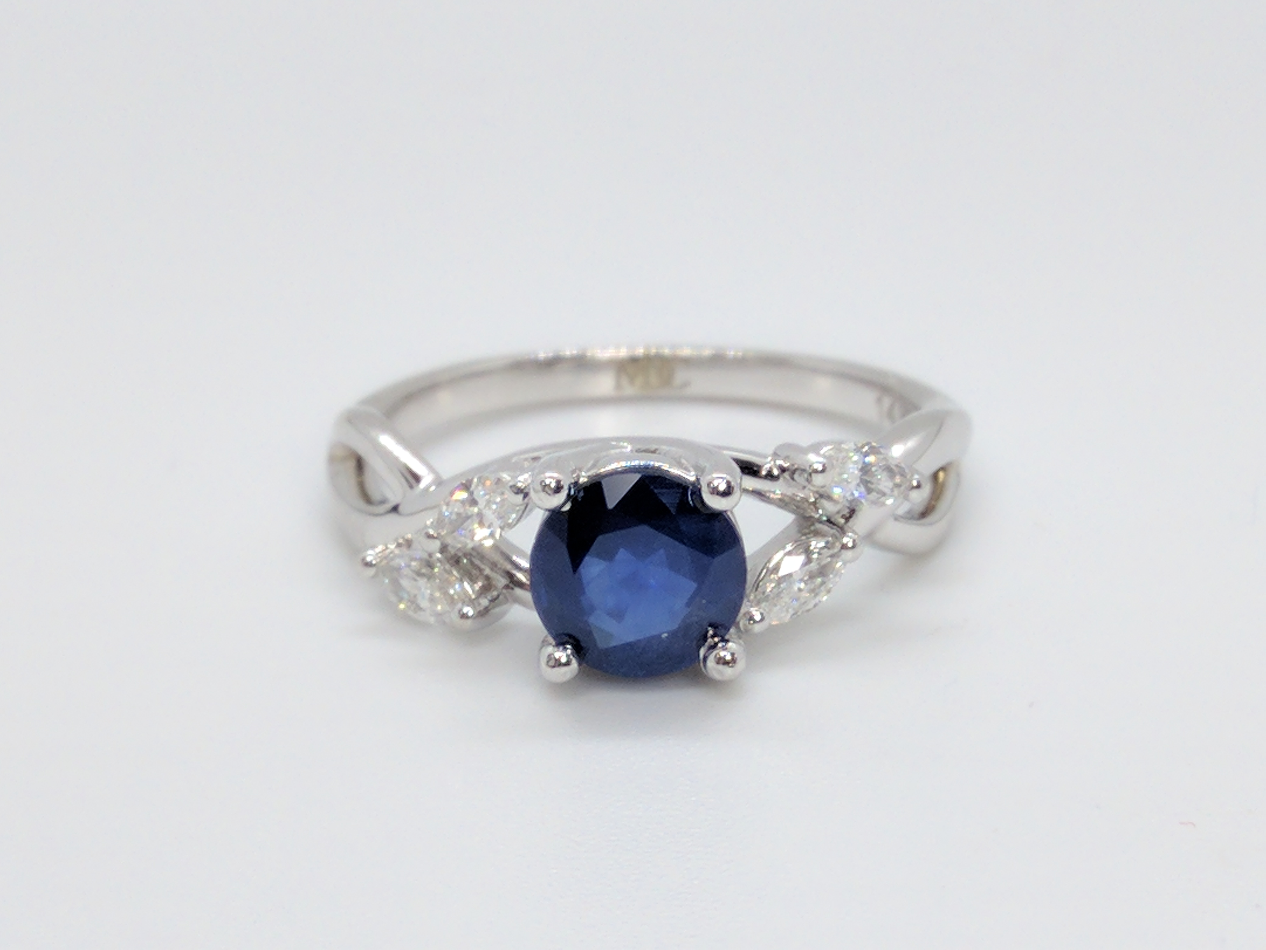 Blue Sapphire - Diamond Engagement Ring Marquise Floral Vine