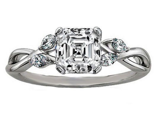 Asscher Diamond Engagement Ring Floral Marquise Vine