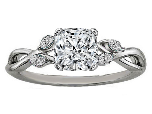Cushion Diamond Engagement Ring Floral Marquise Vine