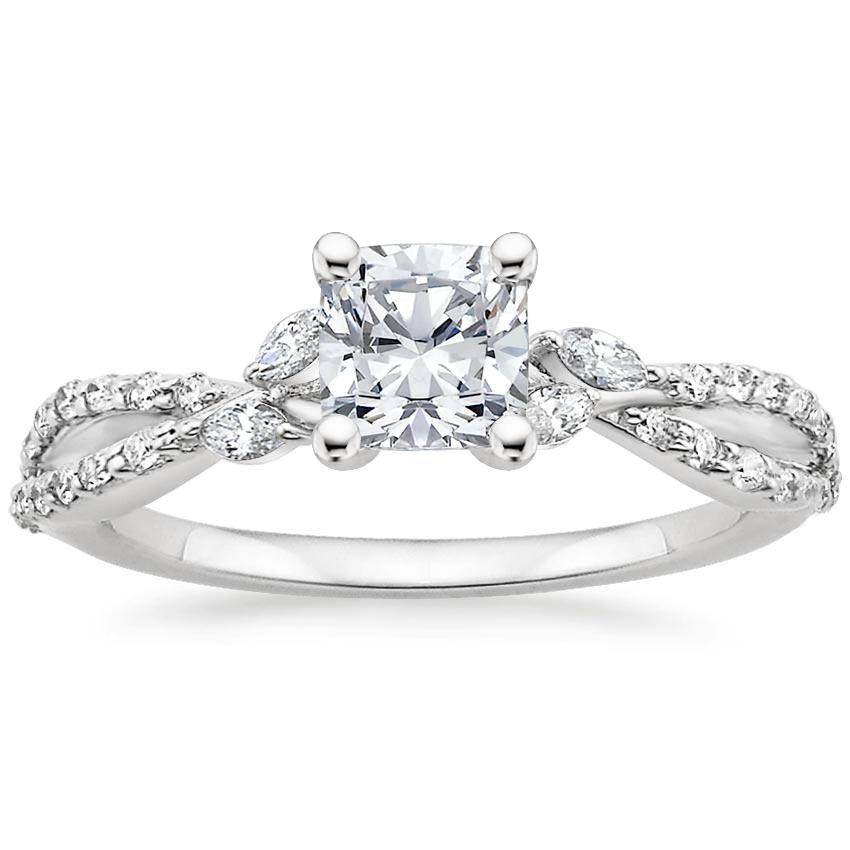 Cushion Diamond Engagement Ring Marquise Floral Vine