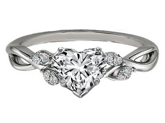 Heart Diamond Engagement Ring Floral Marquise Vine in 14K White Gold