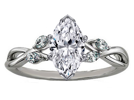 Marquise Diamond Engagement Ring Floral Vine in 14K White Gold