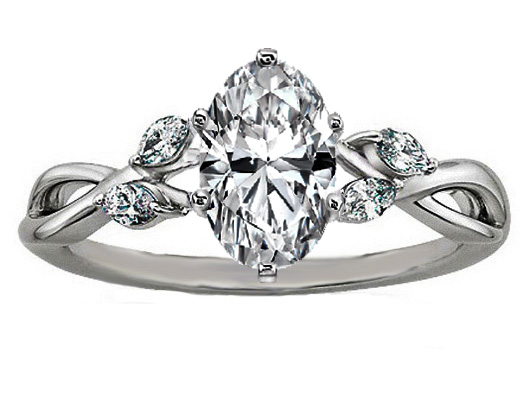 Oval Diamond Engagement Ring Floral Marquise Vine
