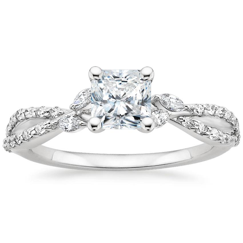 Radiant Diamond Engagement Ring Marquise Floral Vine