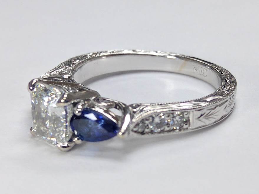 Cushion diamond Engagement Ring Blue Sapphire Pear shape side stones Hand engraved White Gold band