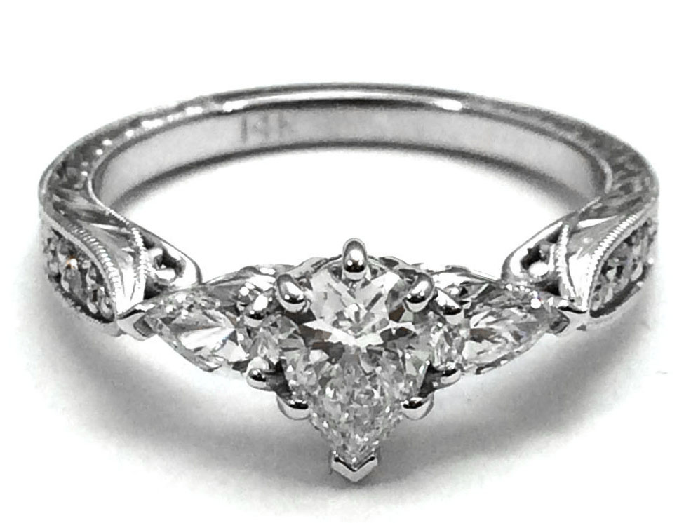 Pear Shape Diamond Engagement Ring diamond side stones Hand Engraved White Gold band