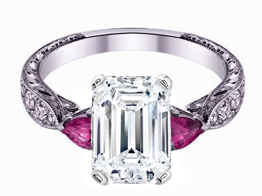 Emerald Cut Diamond Engagement Ring Pink Sapphire Pear side stones Hand engraved White Gold band