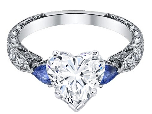 heart shape diamond engagement ring blue sapphire pear side stones hand engraved white gold band