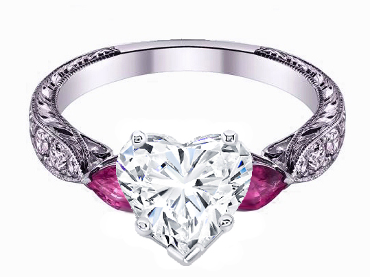 Heart Shape diamond Engagement Ring Pink Sapphire Pear side stones Hand engraved White Gold band