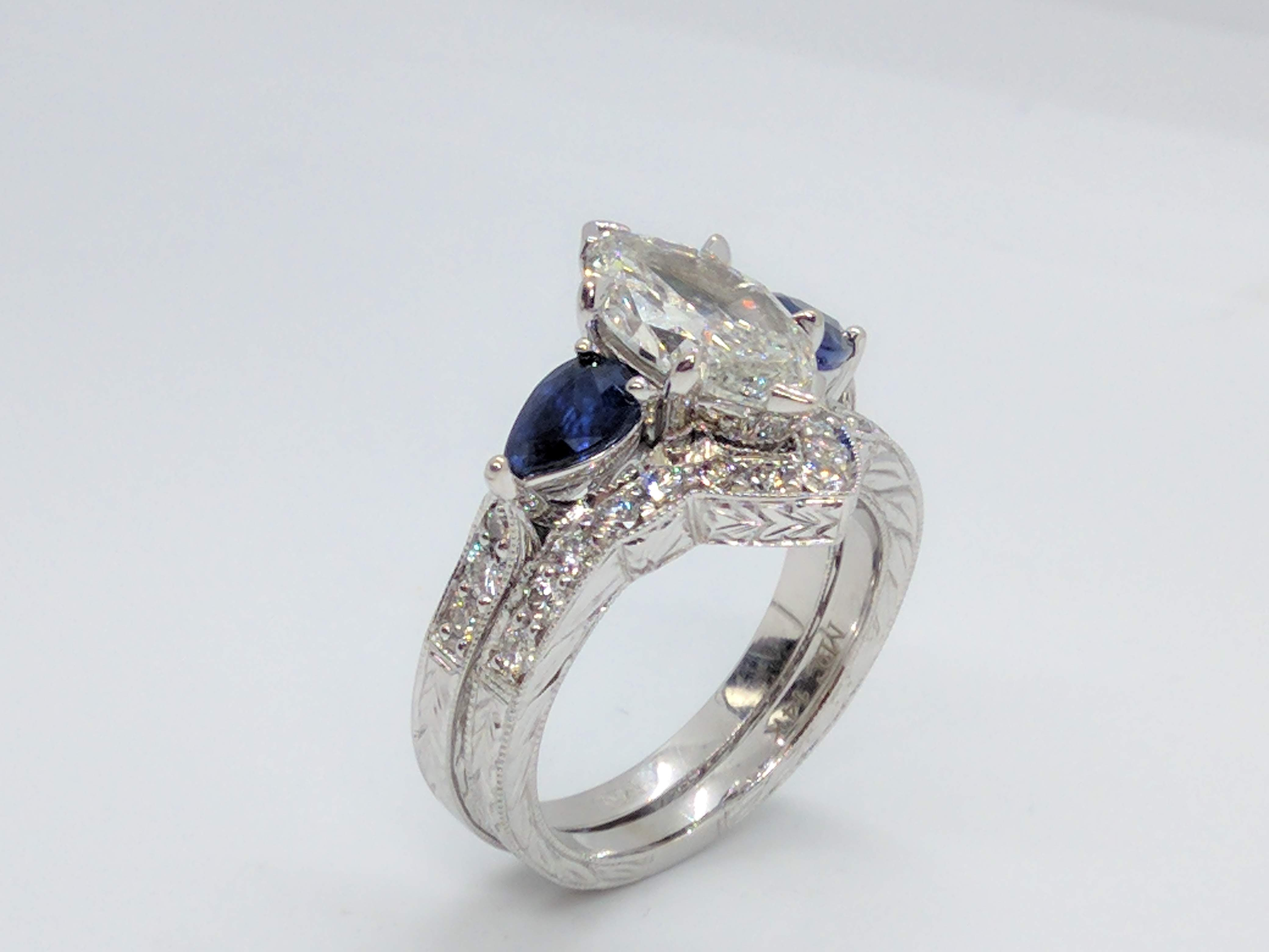Marquise  Engagement Ring Blue Sapphire Pear sides Hand Engraved & Matching wedding Band