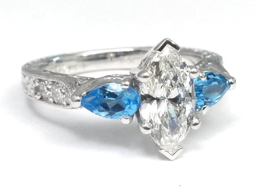 Marquise Diamond Engagement Ring, Blue Topaz Pear side stones Hand Engraved White Gold band