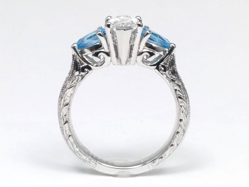 Engagement Ring Marquise Cut Diamond Engagement Ring Blue Topaz Pear Side  Stones Hand Engraved White Gold Bandes1103mqbt