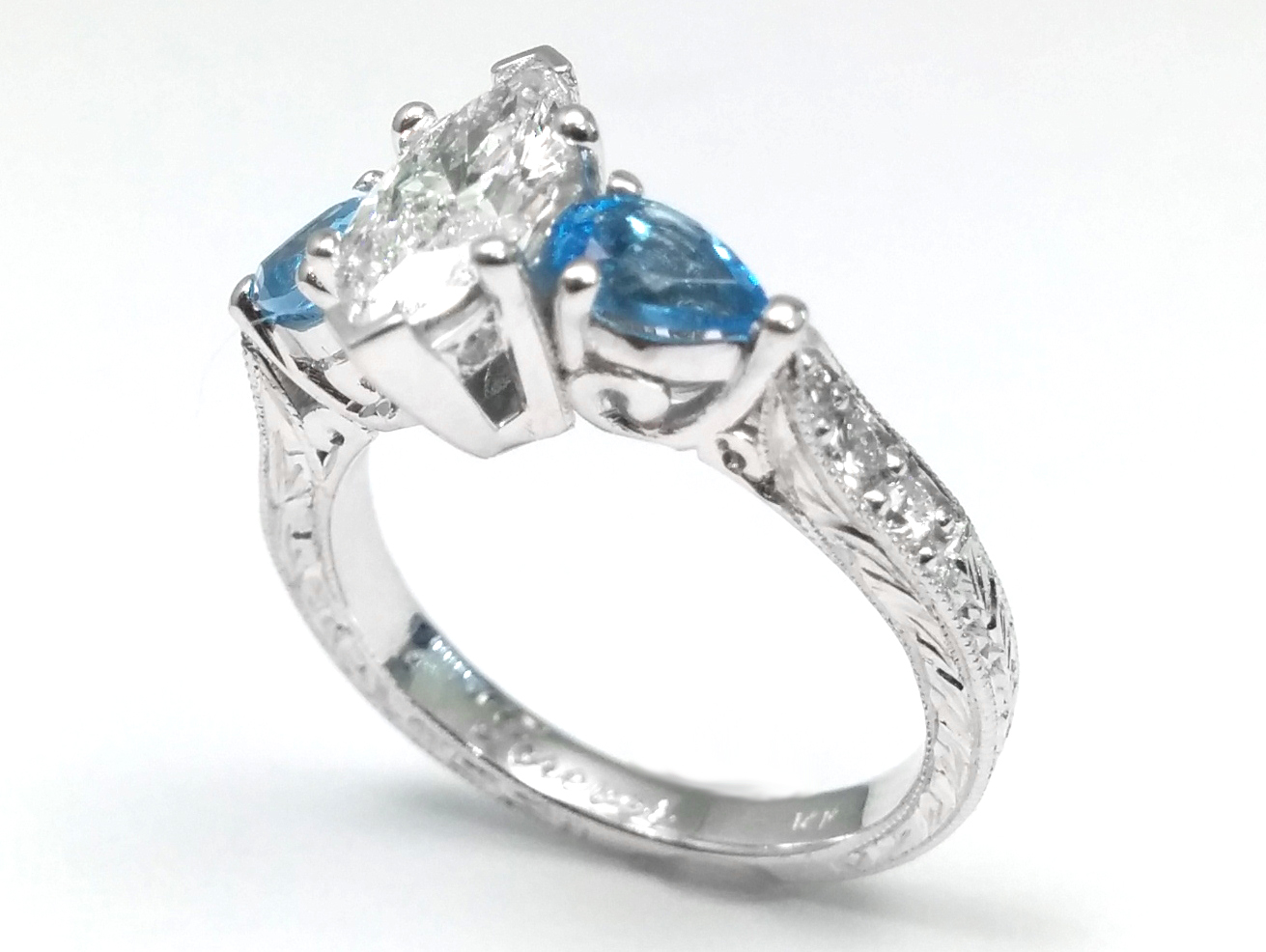 Marquise Cut Diamond Engagement Ring Blue Topaz Pear side stones Hand Engraved White Gold band