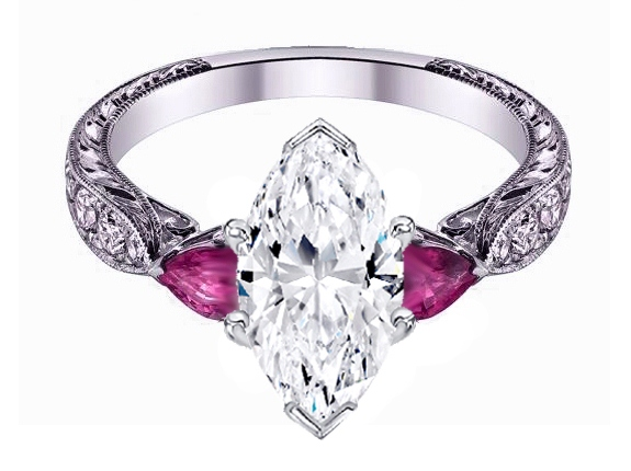 Marquise Cut diamond Engagement Ring Pink Sapphire Pear side stones Hand engraved White Gold band
