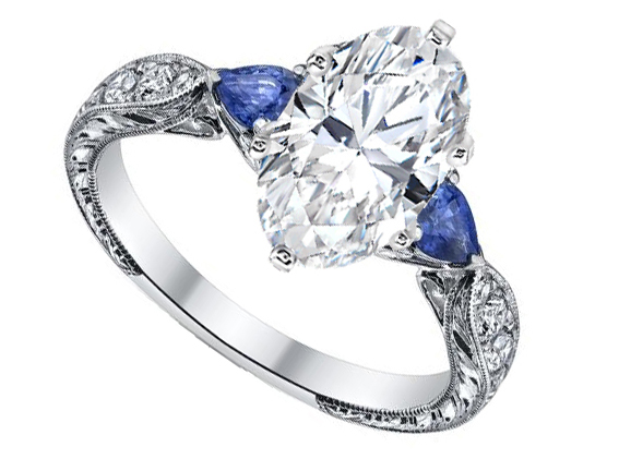 Oval Diamond Engagement Ring Blue Sapphire Pear side stones Hand engraved White Gold band