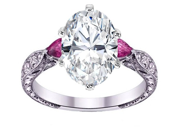 Oval Diamond Engagement Ring Pink Sapphire Pear side stones Hand Engraved White Gold band