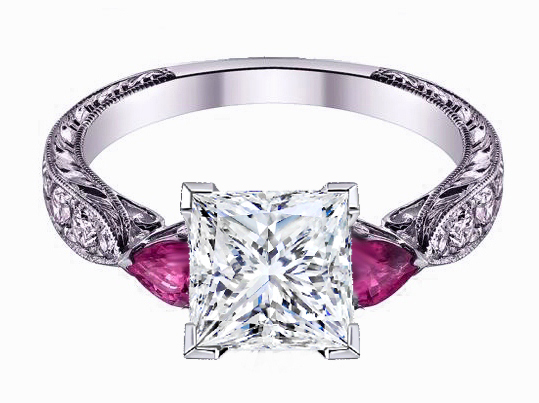 Princess Cut Diamond Engagement Ring Pink Sapphire Pear side stones ...