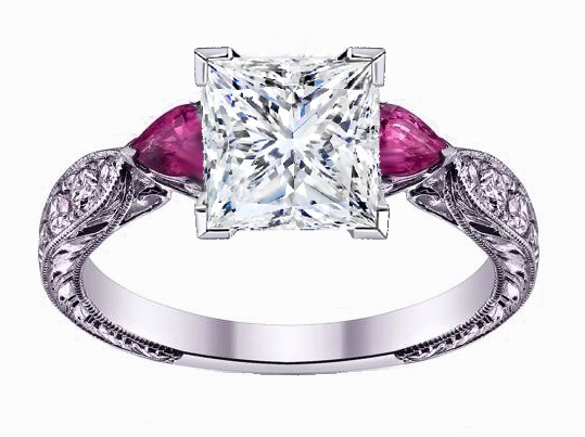 Princess Cut Diamond Engagement Ring Pink Sapphire Pear side stones Hand Engraved White Gold band