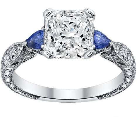 Radiant Cut Diamond Engagement Ring Blue Sapphire Pear side stones Hand Engraved White Gold band