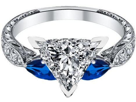 Trillion Cut Diamond Engagement Ring Blue Sapphire Pear side stones Hand Engraved White Gold band