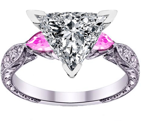 Engagement Ring Trillion Cut Diamond Engagement Ring Pink
