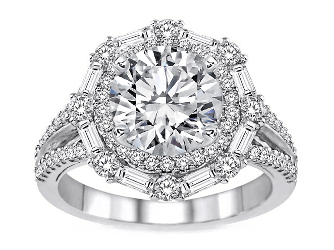 Baguette & Round Diamond Halo Engagement Ring 1.16 TCW in 14K White Gold