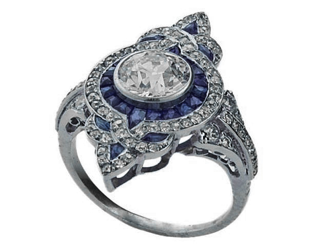 fleur de lis art deco diamond engagement ring in 14k white gold - Art Deco Wedding Rings