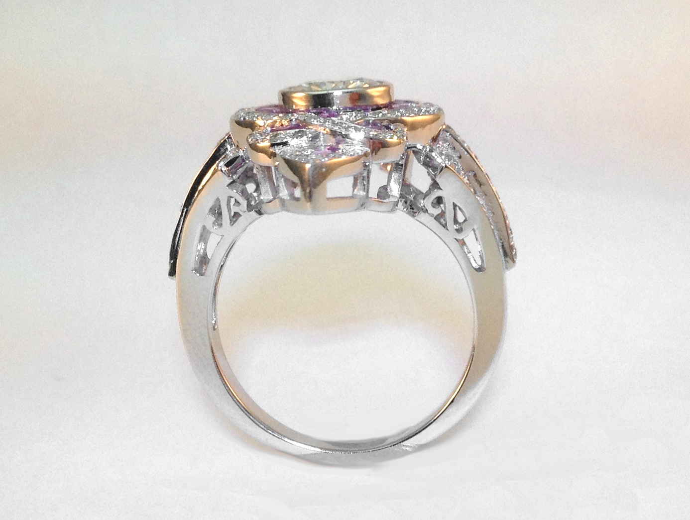 Fleur-De-Lis Art-Deco Diamond Engagement Ring in 14K White Gold