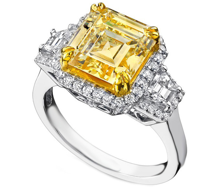 Fancy Yellow Asscher Cut Diamond Halo Ring Trapezoids side Stones