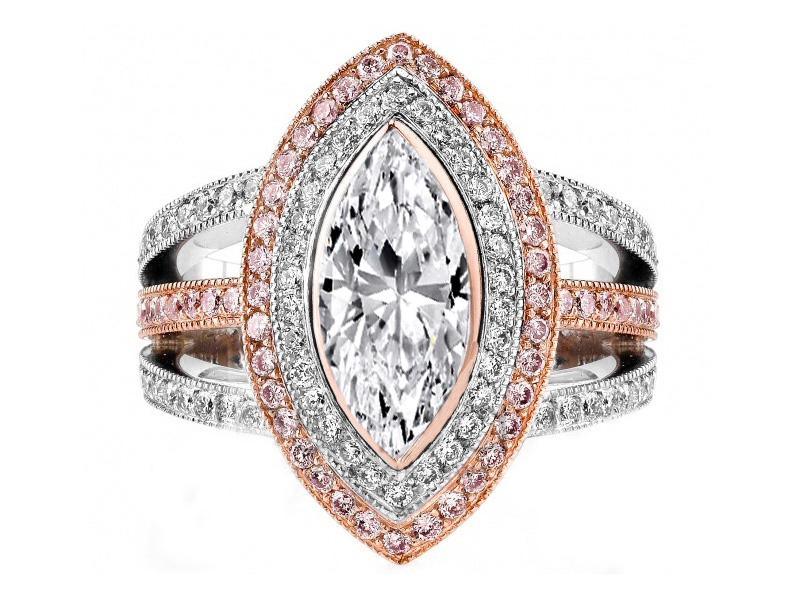 Engagement Ring Marquise Diamond Engagement Ring Pink Diamonds