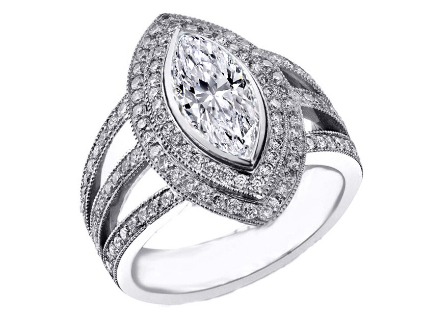 Marquise Diamond Engagement Ring Halo Trio Band
