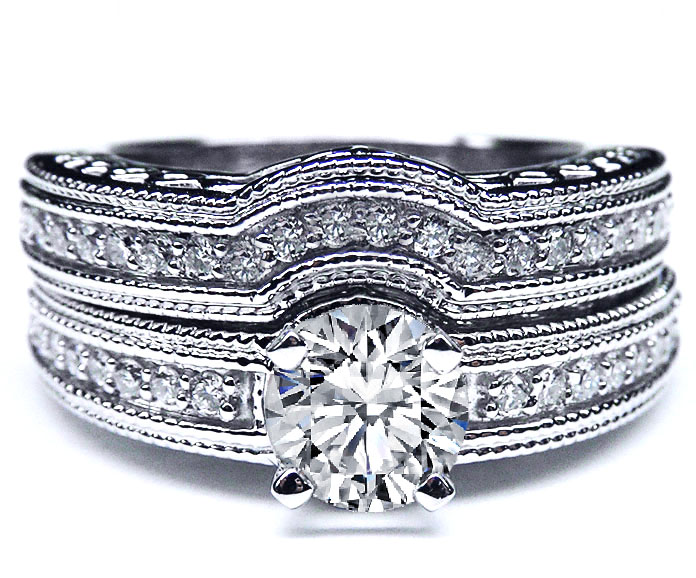 Vintage Filigree Round Diamond Engagement Ring & Wrap Matching Wedding band Bridal Set with accent Diamonds in 14K White Gold