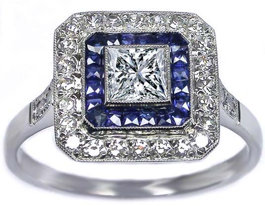 Princess cut Diamond Art Deco Blue & White Square Halo  Engagement Ring