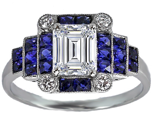 Emerald Cut Diamond Art Deco Step Up Engagement Ring
