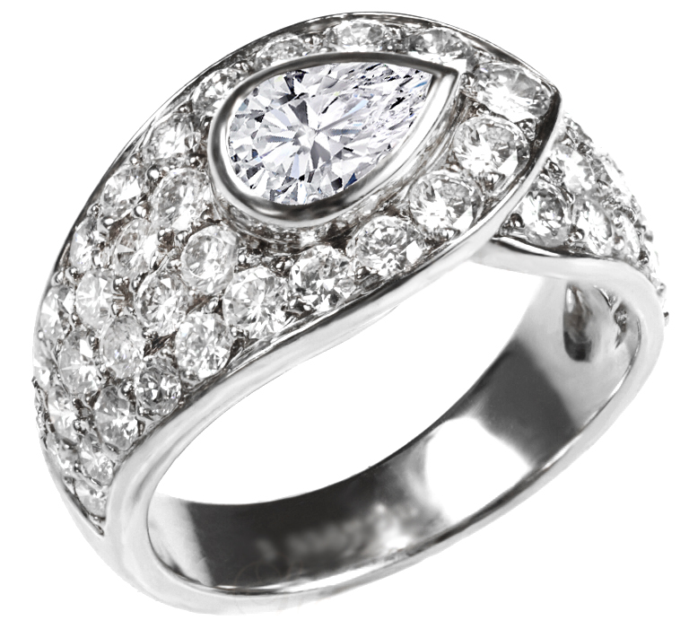 Pear Shape Vintage Diamond Engagement Ring 2.2 TCW in 14K White Gold