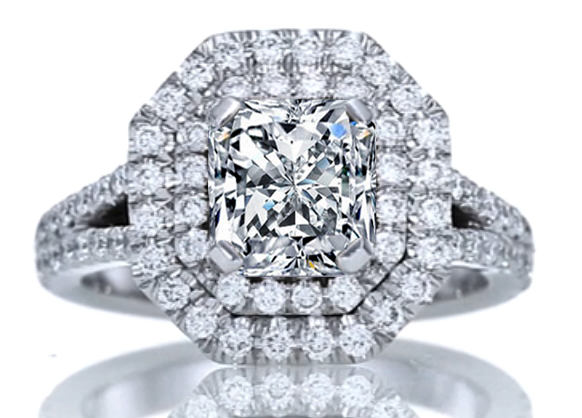 Double Halo Radiant Diamond Engagement Ring