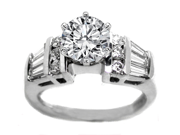Trio Tapered Baguette and Round Diamonds Engagement Ring 0.50 tcw. In 14K White Gold