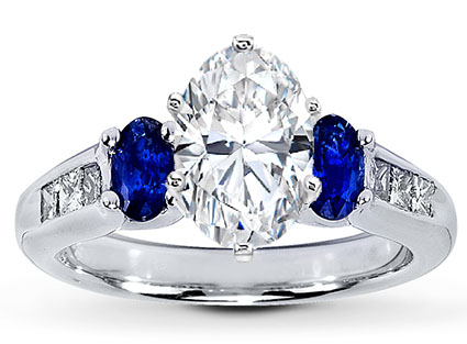 Three Stone Oval Diamond Engagement Ring Blue Sapphires Side stones in 14K White Gold