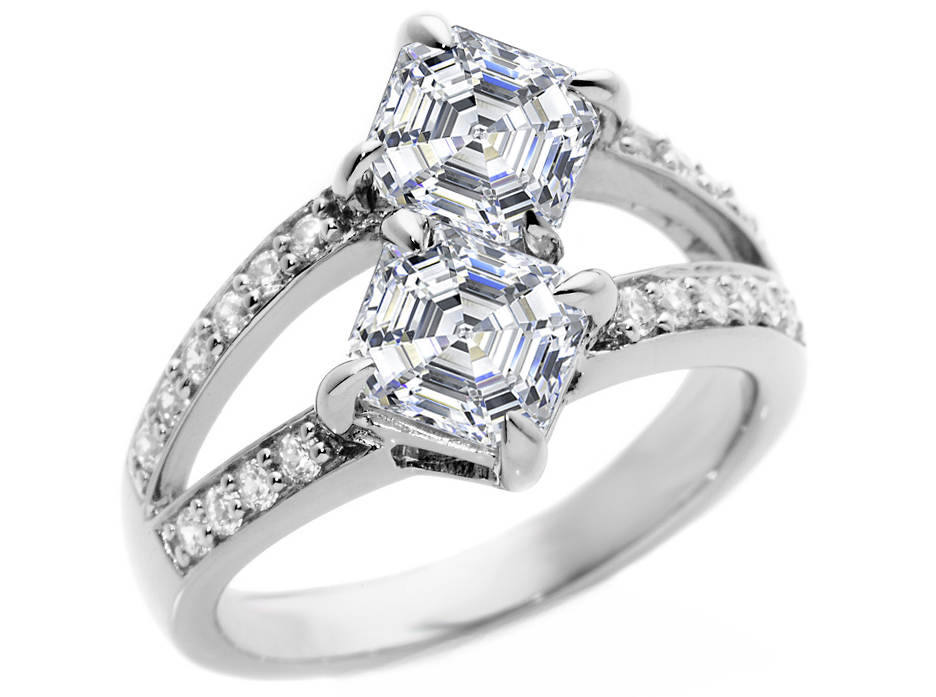 Toi et Moi Asscher Diamonds Engagement Ring in 14K White Gold