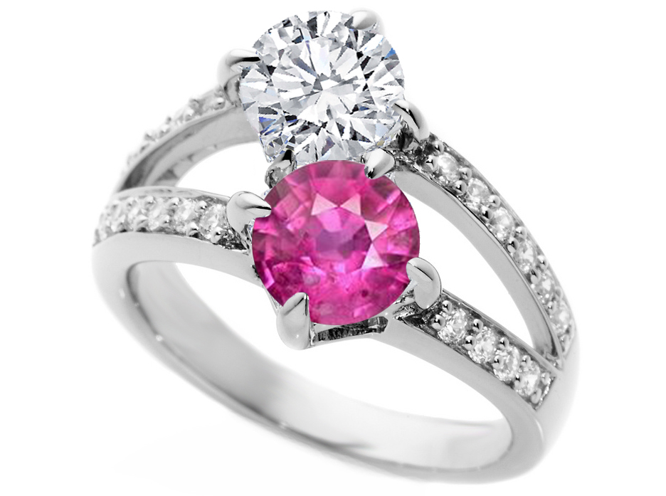 engagement ring toi et moi pink sapphire