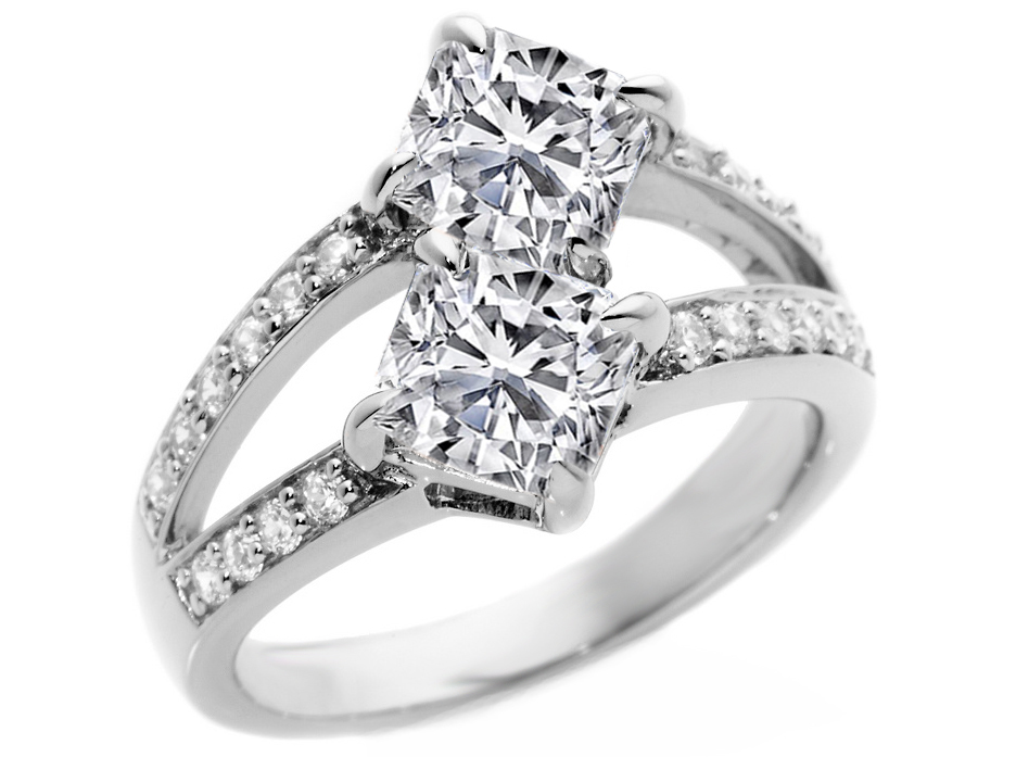 Toi et Moi Cushion Diamonds Engagement Ring in 14K White Gold