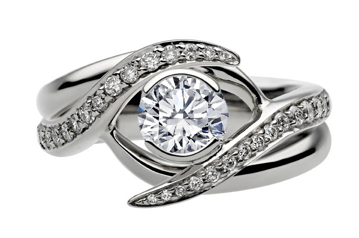 entwined bridal set engagement ring matching wedding ring in 14k white gold - Bridal Set Wedding Rings