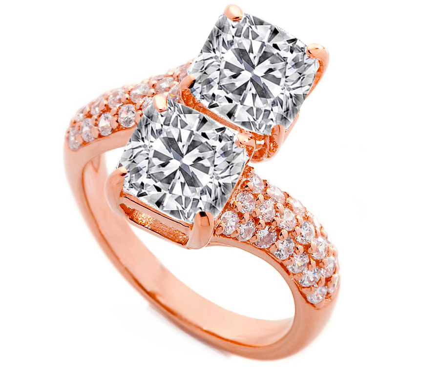 Toi et Moi Cushion Diamond Pave Engagement Ring in 14K Pink Gold