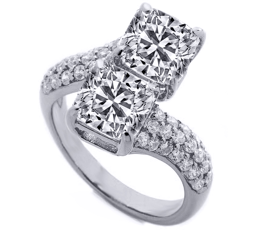 Toi et Moi Cushion Diamond Pave Engagement Ring in 14K White Gold