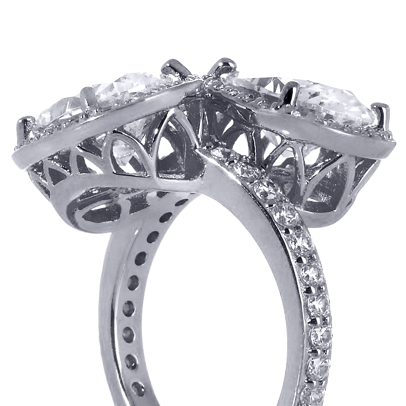 Toi et Moi Oval Diamond Halo Pave Engagement Ring in 14K White Gold
