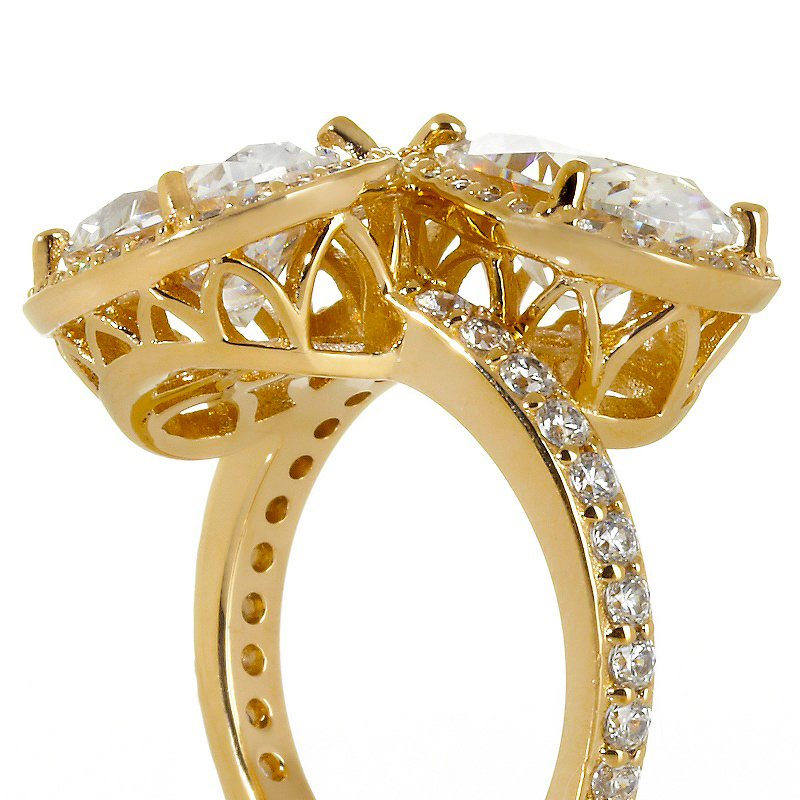 Toi et Moi Oval Diamond Halo Pave Engagement Ring in 14K Yellow Gold
