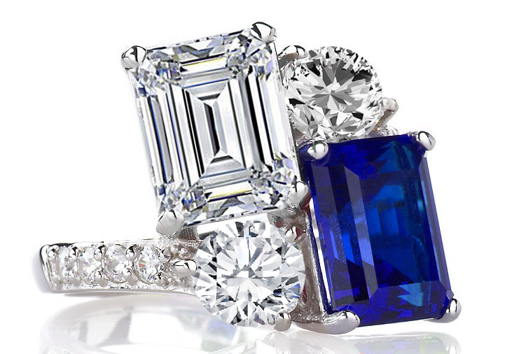 Toi et Moi Emerald Cut Diamond & Sapphire Engagement Ring